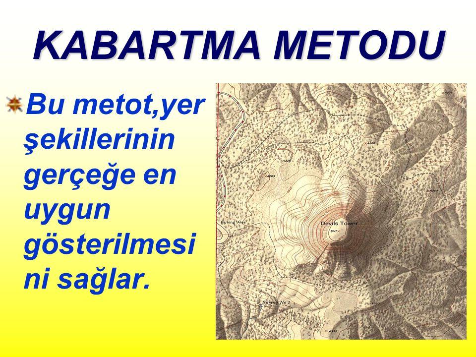 KABARTMA METODU Bu metot,yer şekillerinin gerçeğe en uygun gösterilmesi ni sağlar.