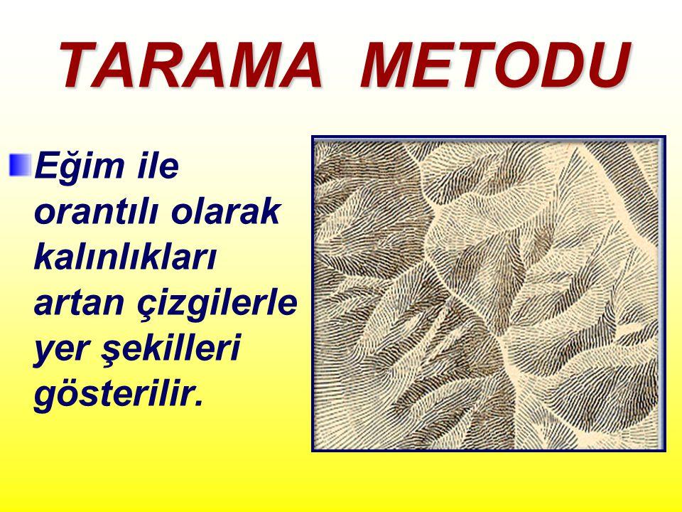 TARAMA METODU Eğim ile orantılı olarak kalınlıkları artan çizgilerle yer şekilleri gösterilir.