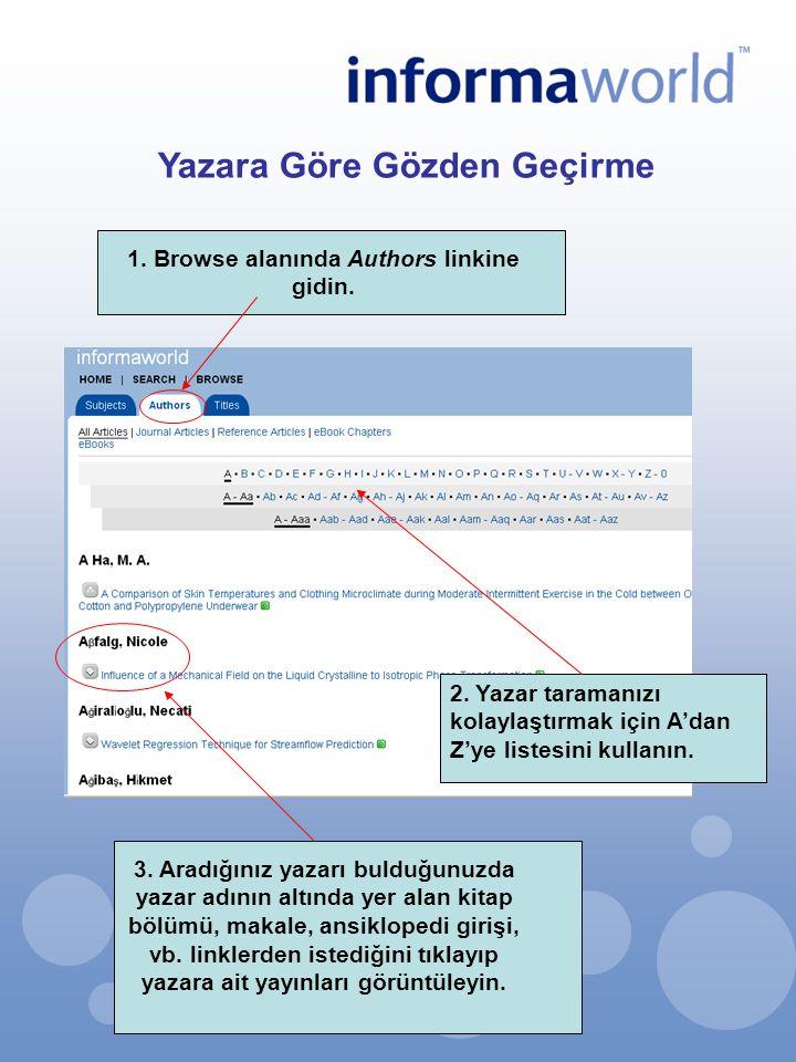 2. Yazar taramanızı kolaylaştırmak için A'dan Z'ye listesini kullanın. 3. Aradığınız yazarı bulduğunuzda yazar adının altında yer alan kitap bölümü, m