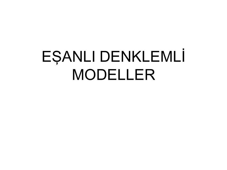 DARALTILMIŞ MODEL ♦ Yapısal denklemlerden M içsel değişken için çözüm yapılarak daraltılmış kalıp denklemleri ve buna bağlı daraltılmış kalıp parametreleri elde edilebilir ♦ Bir daraltılmış kalıp denklemi bir içsel değişkenin yalnızca dışsal değişkenlerin fonksiyonu olarak ifadesidir.