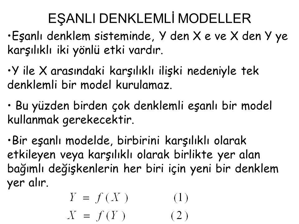 EŞANLI MODELLERİN DENKLEM VE DEĞİŞKEN SAYISI Eşanlı bir modelde alınacak denklem sayısı, genelde modelin amacının ileriye yönelik tahmin mi yoksa belli parametrelerin en iyi tahminleri mi olduğuna bağlıdır.
