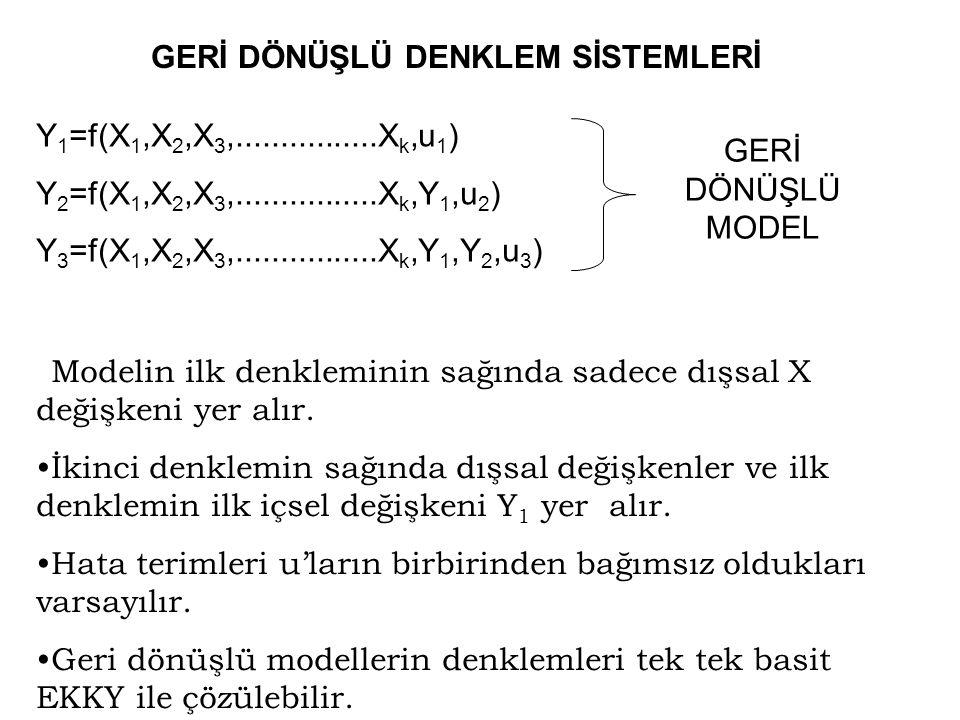 Daraltılmış model katsayılarının yapısal parametrelerle elde edilişi :