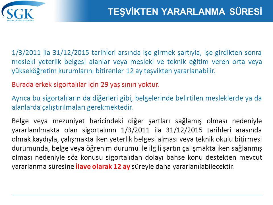 TEŞVİKTEN YARARLANMA SÜRESİ 1/3/2011 ila 31/12/2015 tarihleri arsında işe girmek şartıyla, işe girdikten sonra mesleki yeterlik belgesi alanlar veya m