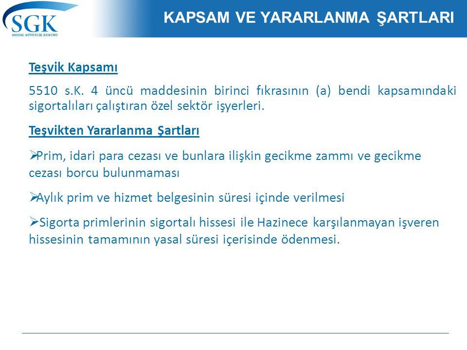 KAPSAM VE YARARLANMA ŞARTLARI Teşvik Kapsamı 5510 s.K.