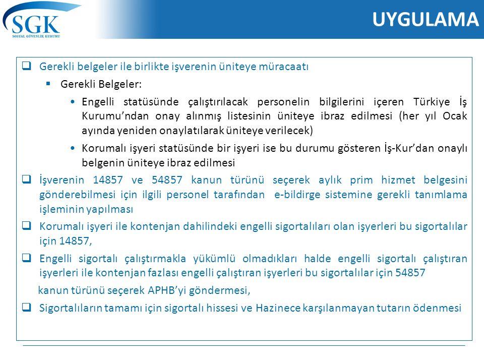 UYGULAMA  Gerekli belgeler ile birlikte işverenin üniteye müracaatı  Gerekli Belgeler: Engelli statüsünde çalıştırılacak personelin bilgilerini içer