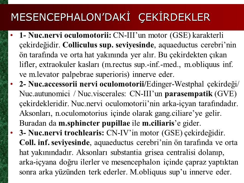 MESENCEPHALON'DAKİ YOLLAR Mesencephalon'un basisinden geçen yollar: Fibrae corticospinales (Bulbus'da çaprazlaşanlar- tr.corticospinalis lateralis; çaprazlaşmayanlar-tr.corticospinalis ant.), fibrae cortico- nucleares (basal çekirdeklere giden lifler) ve tr.corticopontinus (nuc.pontis'e gelen liflerdir, sonra karşı taraf cerebellum hemisferine gider).