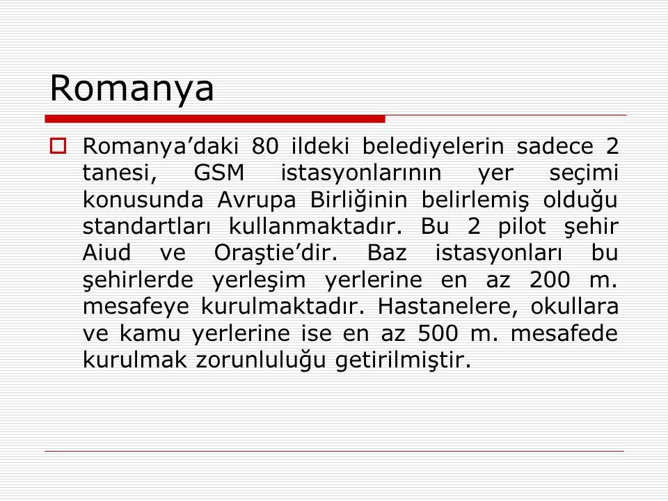 Romanya  Romanya'daki 80 ildeki belediyelerin sadece 2 tanesi, GSM istasyonlarının yer seçimi konusunda Avrupa Birliğinin belirlemiş olduğu standartl