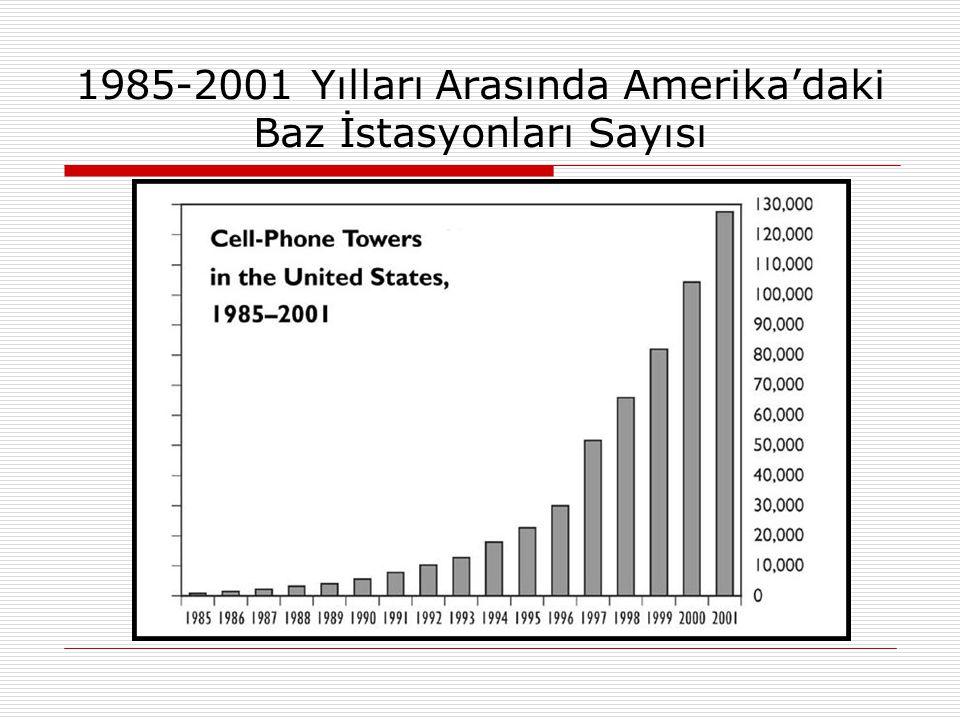 1985-2001 Yılları Arasında Amerika'daki Baz İstasyonları Sayısı