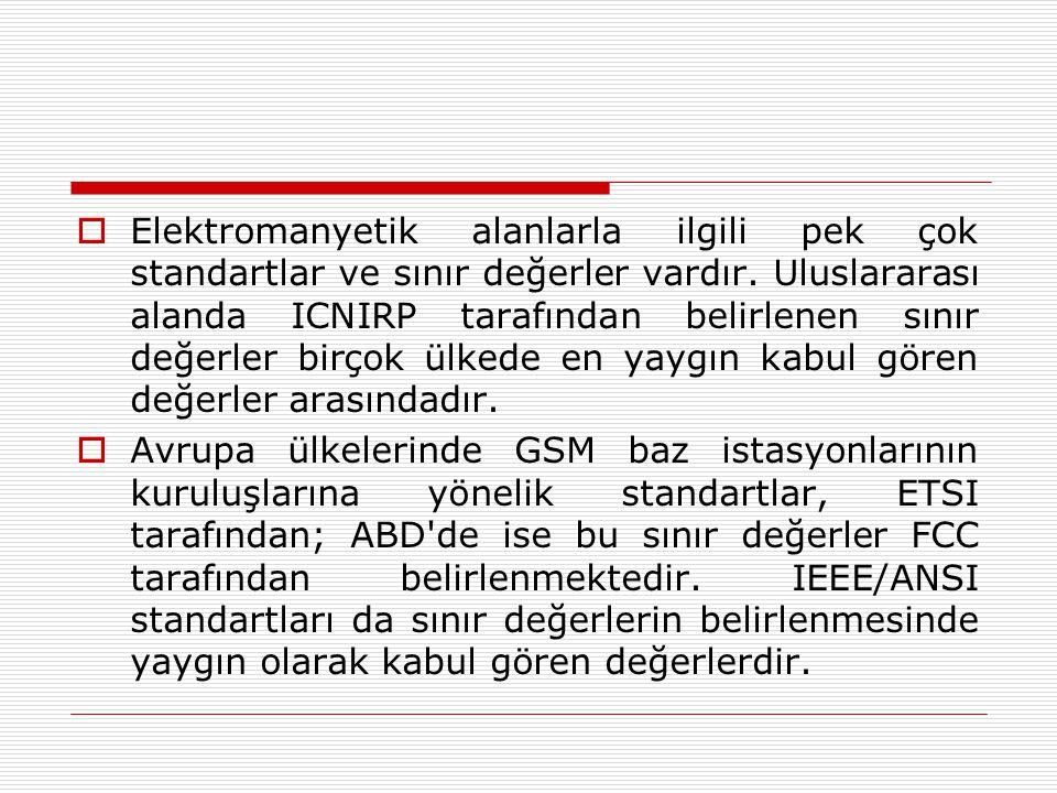 AVRUPA BİRLİĞİ ÜLKELERİ  Avrupa Birliği üyesi ülkelerde baz istasyonlarının kuruluşlarına yönelik standartlar, ETSI tarafından belirlenmektedir.