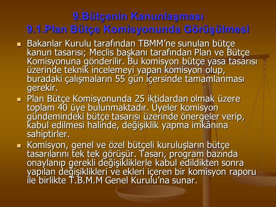 9.Bütçenin Kanunlaşması 9.1.Plan Bütçe Komisyonunda Görüşülmesi Bakanlar Kurulu tarafından TBMM'ne sunulan bütçe kanun tasarısı; Meclis başkanı tarafı
