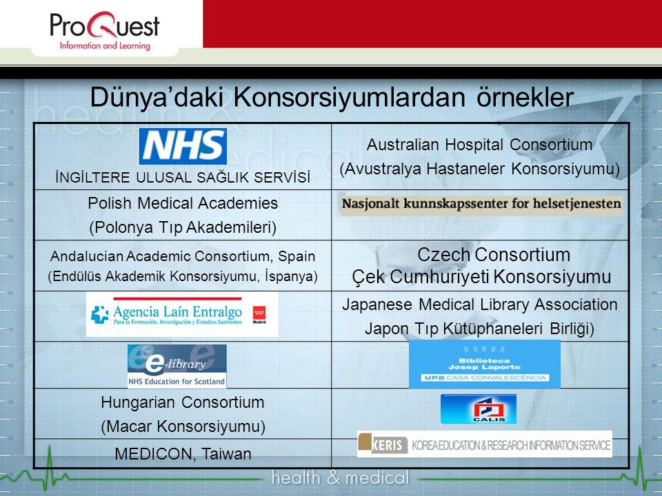 Dünya'daki Konsorsiyumlardan örnekler İNGİLTERE ULUSAL SAĞLIK SERVİSİ Australian Hospital Consortium (Avustralya Hastaneler Konsorsiyumu) Polish Medical Academies (Polonya Tıp Akademileri) Andalucian Academic Consortium, Spain (Endülüs Akademik Konsorsiyumu, İspanya) Czech Consortium Çek Cumhuriyeti Konsorsiyumu Japanese Medical Library Association Japon Tıp Kütüphaneleri Birliği) Hungarian Consortium (Macar Konsorsiyumu) MEDICON, Taiwan