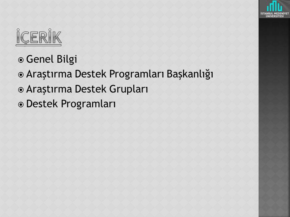  Genel Bilgi  Araştırma Destek Programları Başkanlığı  Araştırma Destek Grupları  Destek Programları