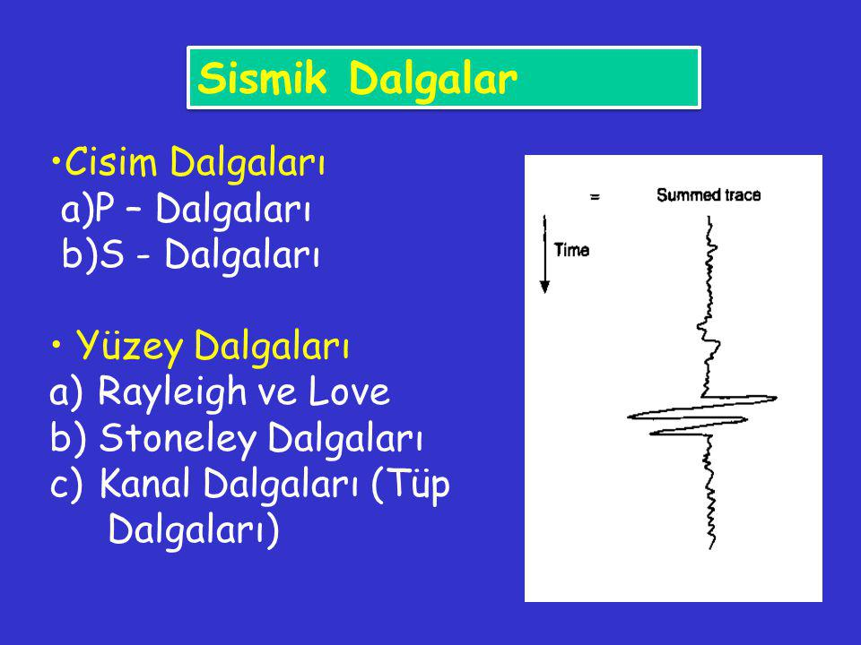 Cisim Dalgaları a)P – Dalgaları b)S - Dalgaları Yüzey Dalgaları a)Rayleigh ve Love b)Stoneley Dalgaları c)Kanal Dalgaları (Tüp Dalgaları) Sismik Dalga