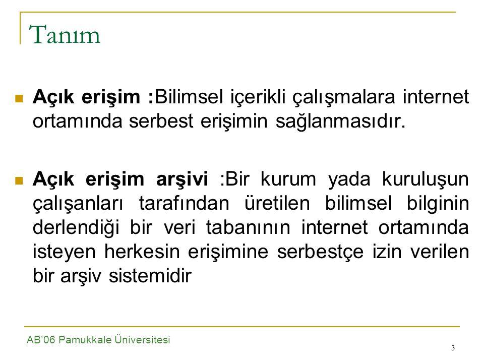 4 Amaç Ankara Üniversitesi bünyesinde oluşturulan açık arşiv ile, bilgi teknolojilerinin sunduğu olanaklardan yararlanarak Internet ortamında isteyen herkesin Üniversitemiz akademisyenleri tarafından üretilmiş bilgilere serbest erişiminin sağlanması, Oluşturulacak açık arşiv ile sadece bilgiye erişim değil, aynı zamanda kurumsal boyutta üretilen bilginin saklanması, depolanması ve gelecek nesillere aktarılması ile, Üniversitemizin ulusal ve uluslararası yayın performansını ortaya koyarak daha fazla tanınmasını sağlamak da amaçlanmaktadır.