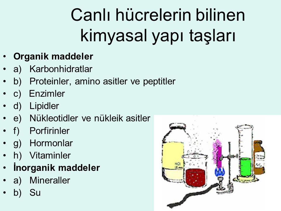 Canlı hücrelerin bilinen kimyasal yapı taşları Organik maddeler a) Karbonhidratlar b) Proteinler, amino asitler ve peptitler c) Enzimler d) Lipidler e