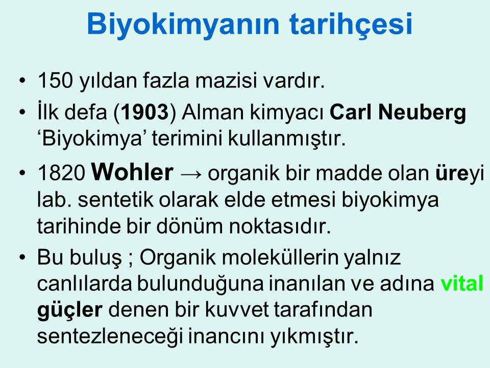 Biyokimyanın tarihçesi 150 yıldan fazla mazisi vardır. İlk defa (1903) Alman kimyacı Carl Neuberg 'Biyokimya' terimini kullanmıştır. 1820 Wohler → org