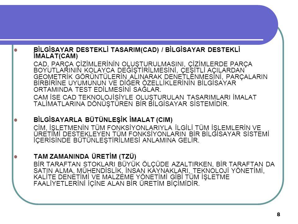 8 BİLGİSAYAR DESTEKLİ TASARIM(CAD) / BİLGİSAYAR DESTEKLİ İMALAT(CAM) CAD, PARÇA ÇİZİMLERİNİN OLUŞTURULMASINI, ÇİZİMLERDE PARÇA BOYUTLARININ KOLAYCA DE