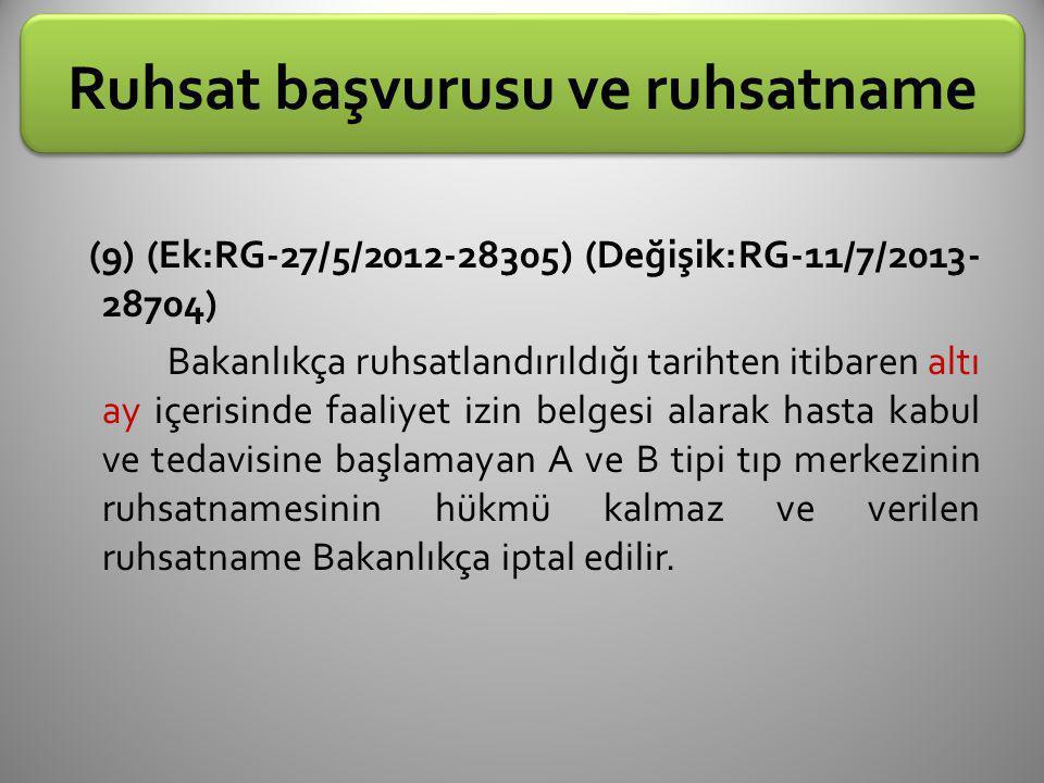Ruhsat başvurusu ve ruhsatname (9) (Ek:RG-27/5/2012-28305) (Değişik:RG-11/7/2013- 28704) Bakanlıkça ruhsatlandırıldığı tarihten itibaren altı ay içeri