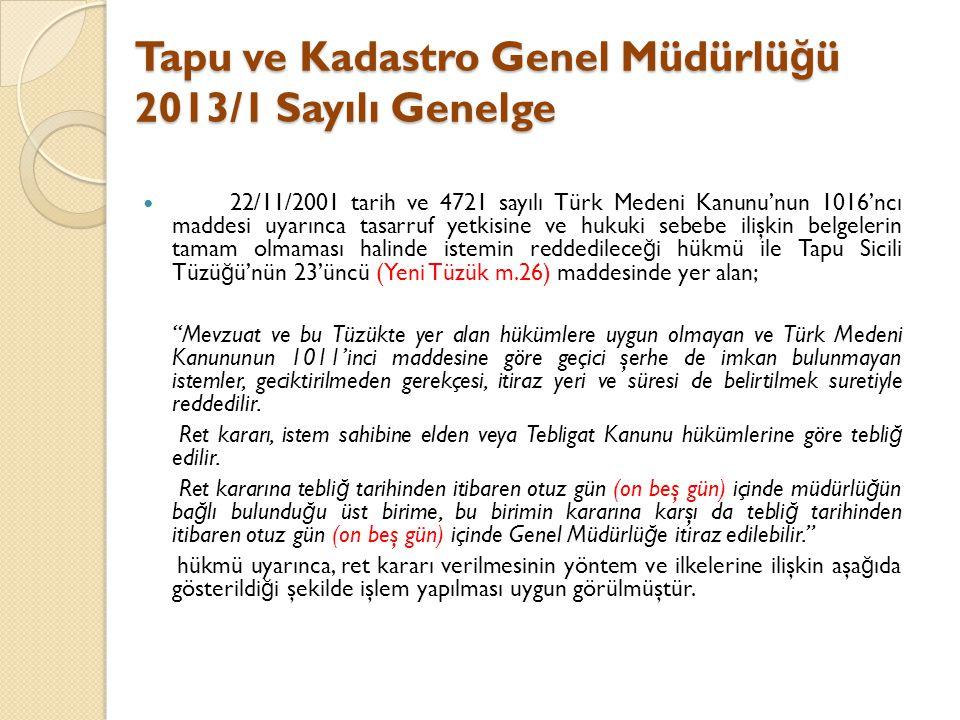 Tapu ve Kadastro Genel Müdürlü ğ ü 2013/1 Sayılı Genelge 22/11/2001 tarih ve 4721 sayılı Türk Medeni Kanunu'nun 1016'ncı maddesi uyarınca tasarruf yet