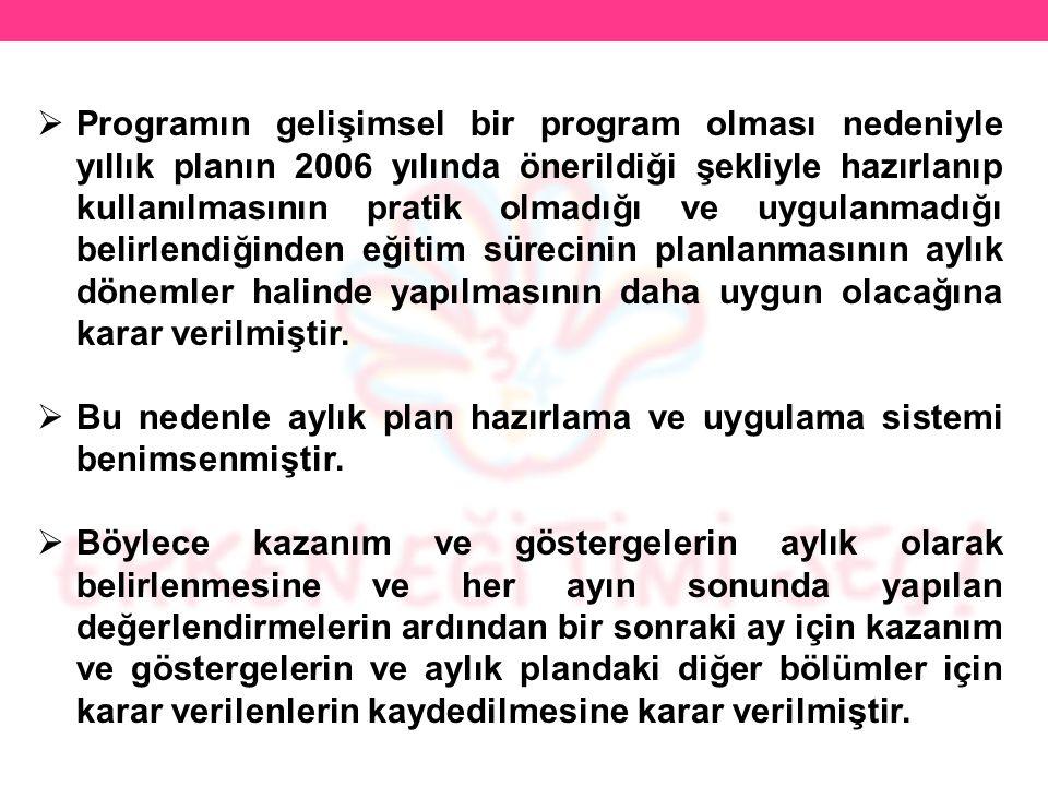  Programın gelişimsel bir program olması nedeniyle yıllık planın 2006 yılında önerildiği şekliyle hazırlanıp kullanılmasının pratik olmadığı ve uygul