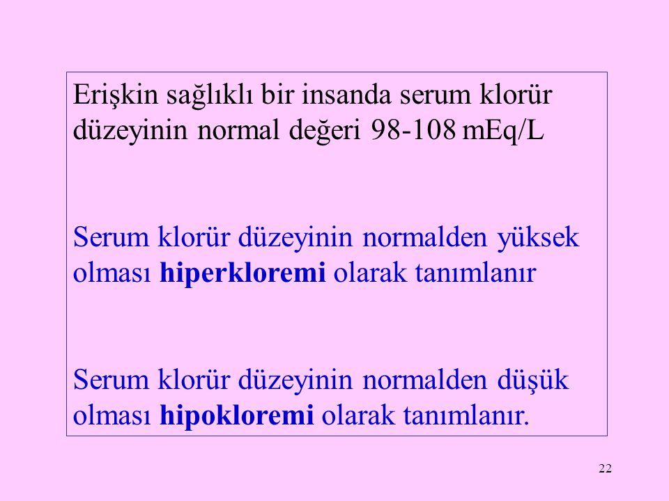 22 Erişkin sağlıklı bir insanda serum klorür düzeyinin normal değeri 98-108 mEq/L Serum klorür düzeyinin normalden yüksek olması hiperkloremi olarak t