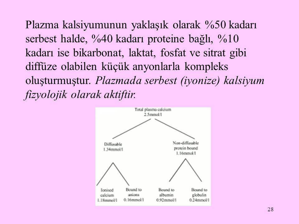 28 Plazma kalsiyumunun yaklaşık olarak %50 kadarı serbest halde, %40 kadarı proteine bağlı, %10 kadarı ise bikarbonat, laktat, fosfat ve sitrat gibi d