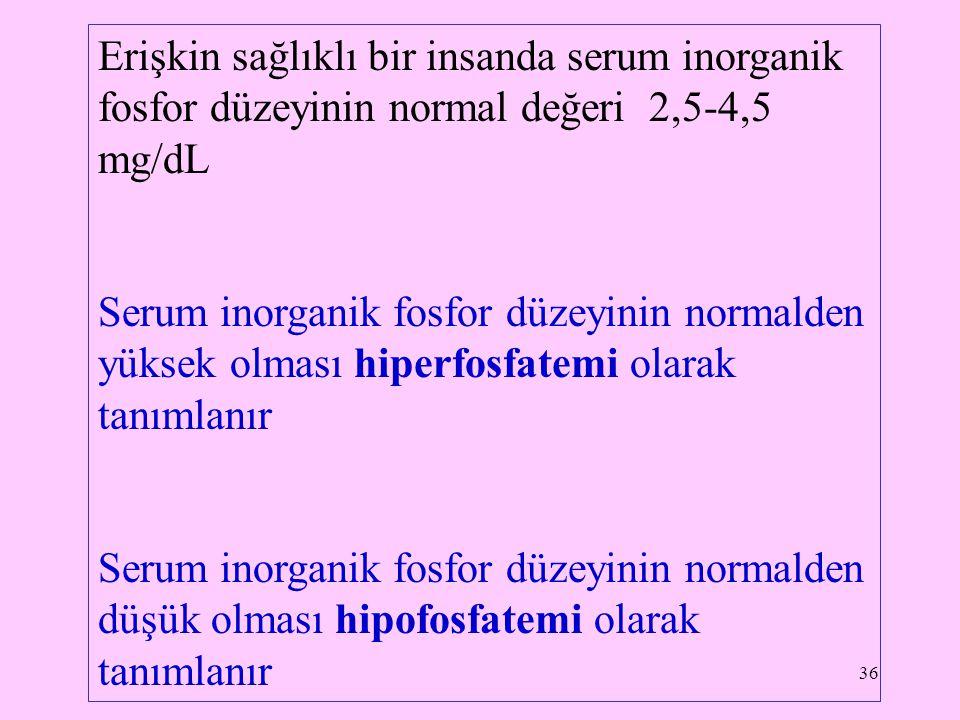 36 Erişkin sağlıklı bir insanda serum inorganik fosfor düzeyinin normal değeri 2,5-4,5 mg/dL Serum inorganik fosfor düzeyinin normalden yüksek olması