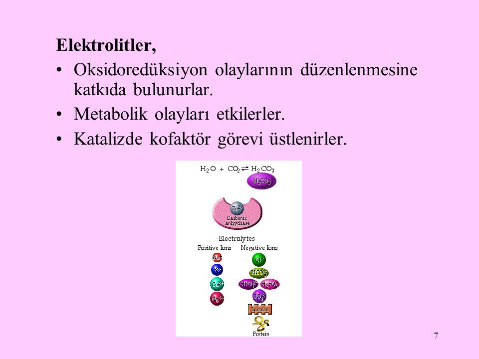 7 Elektrolitler, Oksidoredüksiyon olaylarının düzenlenmesine katkıda bulunurlar. Metabolik olayları etkilerler. Katalizde kofaktör görevi üstlenirler.