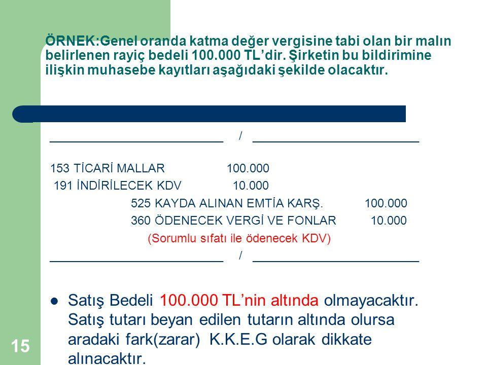 15 ÖRNEK:Genel oranda katma değer vergisine tabi olan bir malın belirlenen rayiç bedeli 100.000 TL'dir. Şirketin bu bildirimine ilişkin muhasebe kayıt