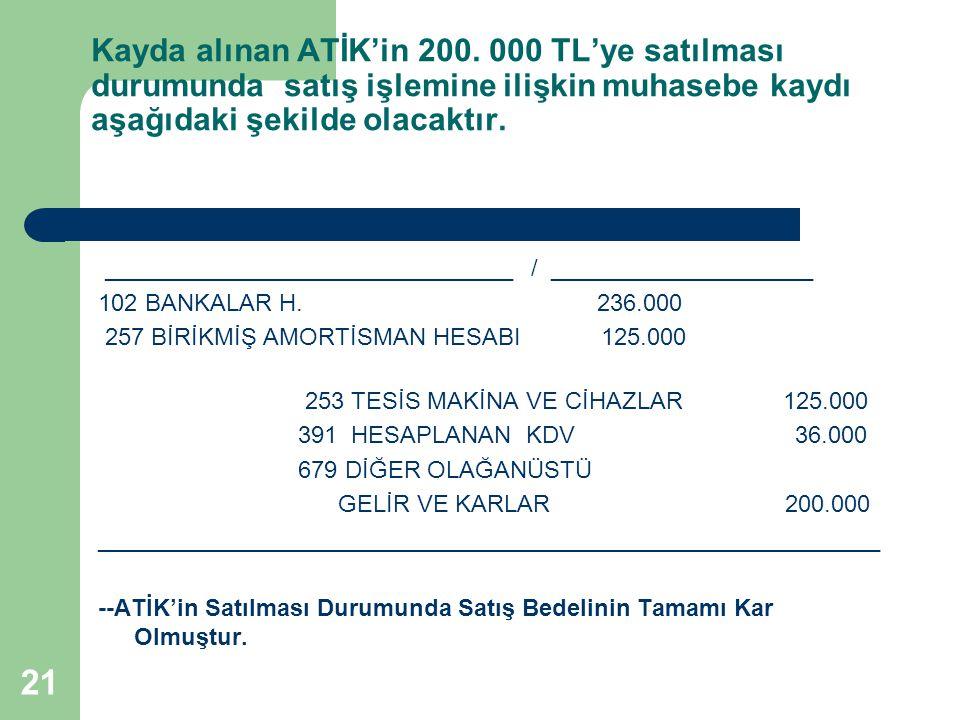 21 Kayda alınan ATİK'in 200. 000 TL'ye satılması durumunda satış işlemine ilişkin muhasebe kaydı aşağıdaki şekilde olacaktır. ________________________