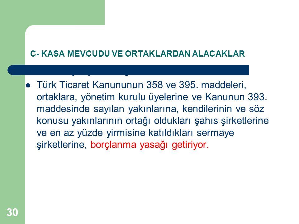 30 C- KASA MEVCUDU VE ORTAKLARDAN ALACAKLAR 6111 sayılı yasa ile getirilen düzenleme ile Yeni Türk Ticaret Kanununun 358 ve 395. maddeleri, ortaklara,