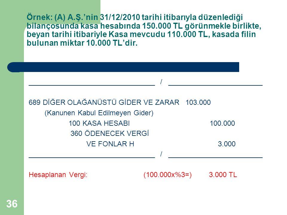 36 Örnek: (A) A.Ş.'nin 31/12/2010 tarihi itibarıyla düzenlediği bilançosunda kasa hesabında 150.000 TL görünmekle birlikte, beyan tarihi itibariyle Ka