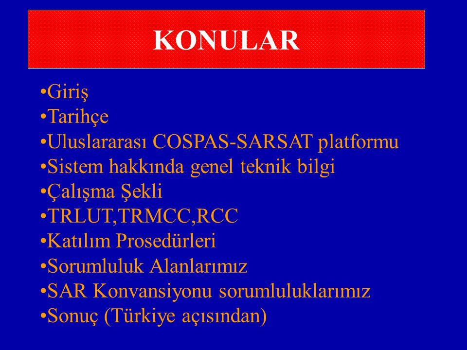 KONULAR Giriş Tarihçe Uluslararası COSPAS-SARSAT platformu Sistem hakkında genel teknik bilgi Çalışma Şekli TRLUT,TRMCC,RCC Katılım Prosedürleri Sorumluluk Alanlarımız SAR Konvansiyonu sorumluluklarımız Sonuç (Türkiye açısından)