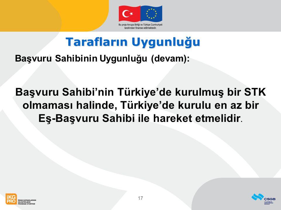 Tarafların Uygunluğu Başvuru Sahibinin Uygunluğu (devam): Başvuru Sahibi'nin Türkiye'de kurulmuş bir STK olmaması halinde, Türkiye'de kurulu en az bir