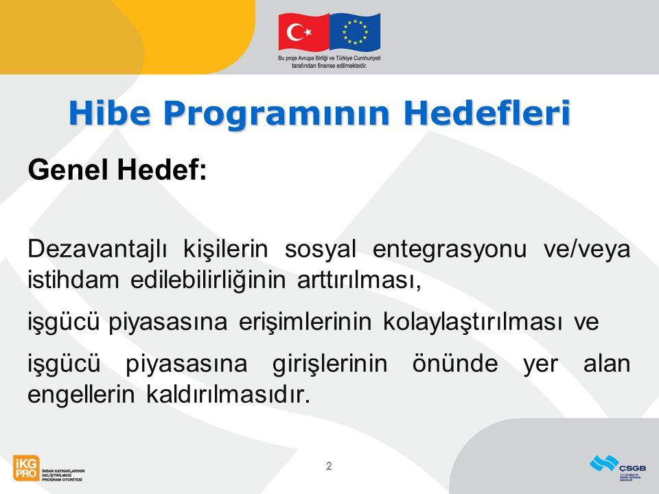 Hibe Programının Hedefleri Genel Hedef: Dezavantajlı kişilerin sosyal entegrasyonu ve/veya istihdam edilebilirliğinin arttırılması, işgücü piyasasına