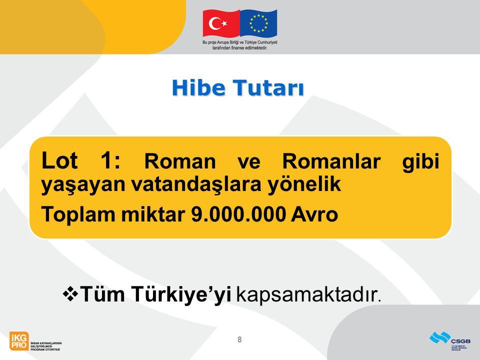 Hibe Tutarı Lot 1: Roman ve Romanlar gibi yaşayan vatandaşlara yönelik Toplam miktar 9.000.000 Avro 8  Tüm Türkiye'yi kapsamaktadır.