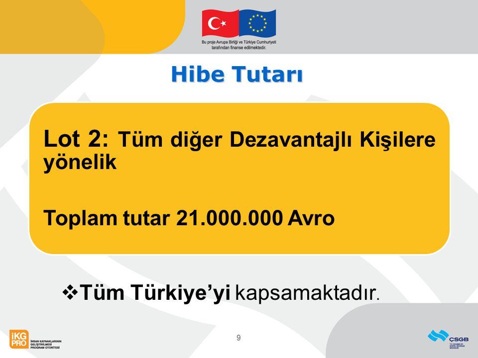 Hibe Tutarı Lot 2: Tüm diğer Dezavantajlı Kişilere yönelik Toplam tutar 21.000.000 Avro 9  Tüm Türkiye'yi kapsamaktadır.