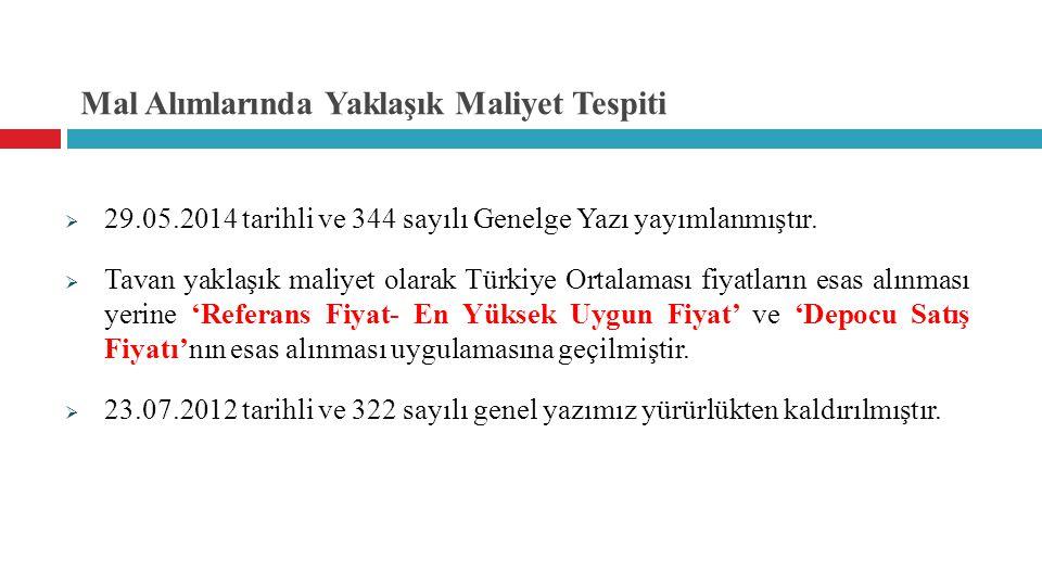 Mal Alımlarında Yaklaşık Maliyet Tespiti  29.05.2014 tarihli ve 344 sayılı Genelge Yazı yayımlanmıştır.  Tavan yaklaşık maliyet olarak Türkiye Ortal