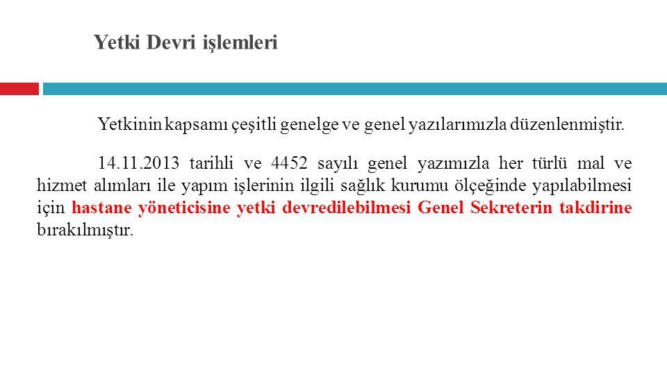 Yetki Devri işlemleri 15.07.2014 tarihinde Türkiye Kamu Hastaneleri Kurumu Taşra Teşkilatı Çalışma Usul ve Esasları Hakkında Yönerge'de yapılan değişiklikle, Satınalma işlemleri başlıklı 34 üncü maddesine aşağıdaki 4 üncü fıkra eklenmiştir.