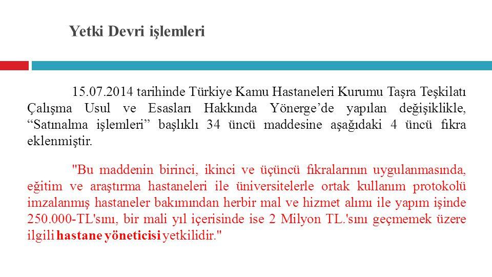 Yetki Devri işlemleri 15.07.2014 tarihinde Türkiye Kamu Hastaneleri Kurumu Taşra Teşkilatı Çalışma Usul ve Esasları Hakkında Yönerge'de yapılan değişi