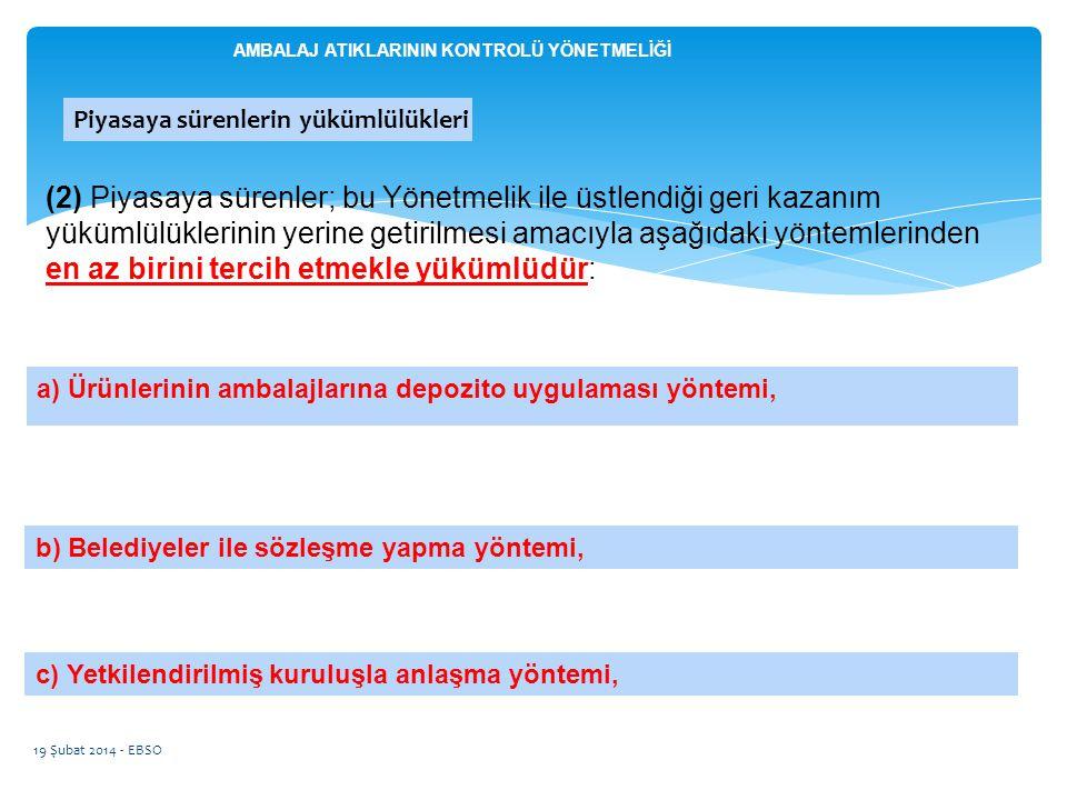 a) Ürünlerinin ambalajlarına depozito uygulaması yöntemi, 19 Şubat 2014 - EBSO (2) Piyasaya sürenler; bu Yönetmelik ile üstlendiği geri kazanım yüküml