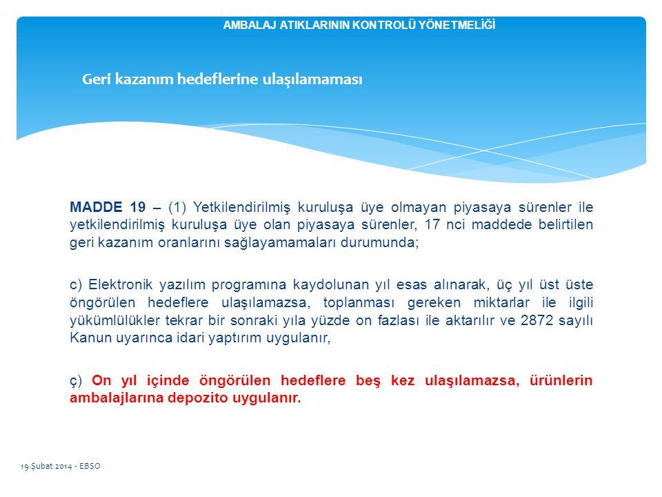 MADDE 19 – (1) Yetkilendirilmiş kuruluşa üye olmayan piyasaya sürenler ile yetkilendirilmiş kuruluşa üye olan piyasaya sürenler, 17 nci maddede belirt