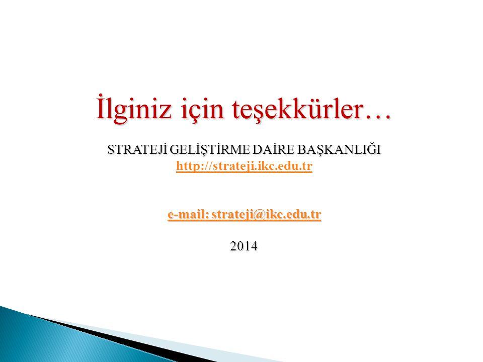 İlginiz için teşekkürler… STRATEJİ GELİŞTİRME DAİRE BAŞKANLIĞI http://strateji.ikc.edu.tr e-mail: strateji@ikc.edu.tr e-mail: strateji@ikc.edu.tr2014
