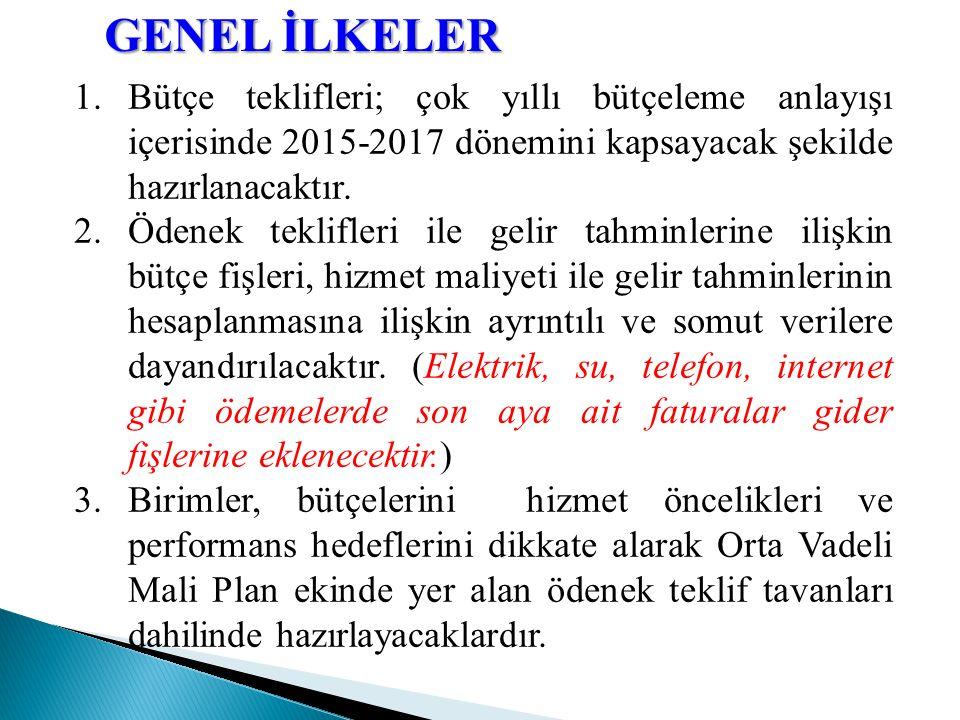 GENEL İLKELER 1.Bütçe teklifleri; çok yıllı bütçeleme anlayışı içerisinde 2015-2017 dönemini kapsayacak şekilde hazırlanacaktır.