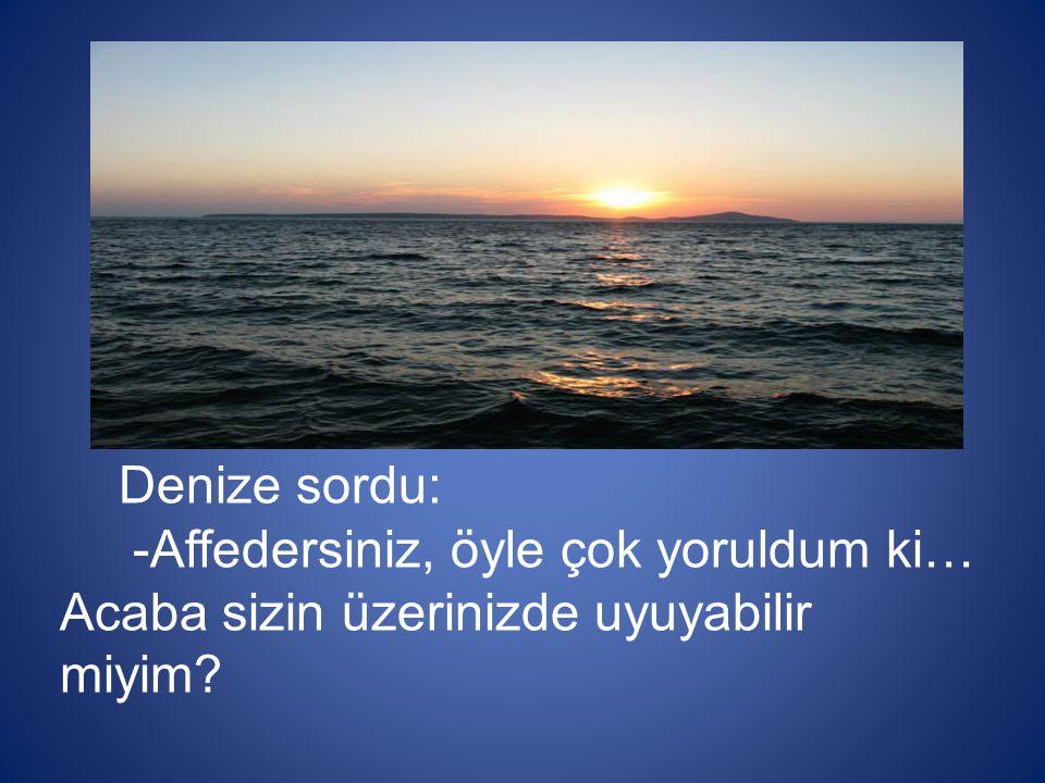 Denize sordu: -Affedersiniz, öyle çok yoruldum ki… Acaba sizin üzerinizde uyuyabilir miyim?