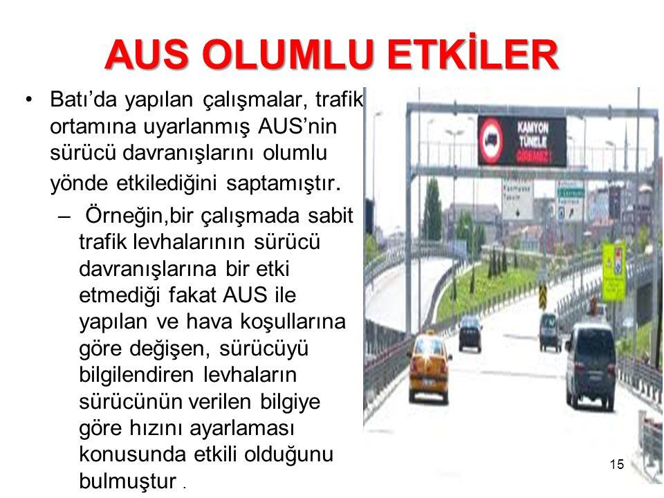 AUS OLUMLU ETKİLER Batı'da yapılan çalışmalar, trafik ortamına uyarlanmış AUS'nin sürücü davranışlarını olumlu yönde etkilediğini saptamıştır. – Örneğ