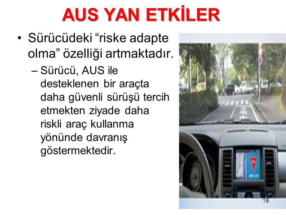"""AUS YAN ETKİLER Sürücüdeki """"riske adapte olma"""" özelliği artmaktadır. –Sürücü, AUS ile desteklenen bir araçta daha güvenli sürüşü tercih etmekten ziyad"""