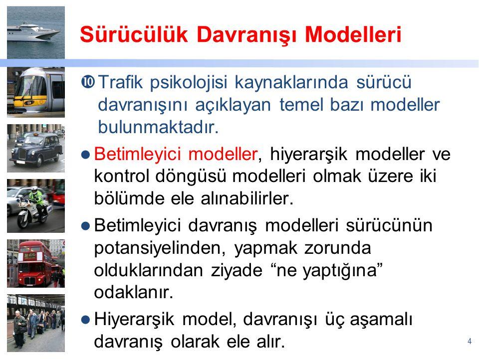 Sürücülük Davranışı Modelleri  Trafik psikolojisi kaynaklarında sürücü davranışını açıklayan temel bazı modeller bulunmaktadır. Betimleyici modeller,