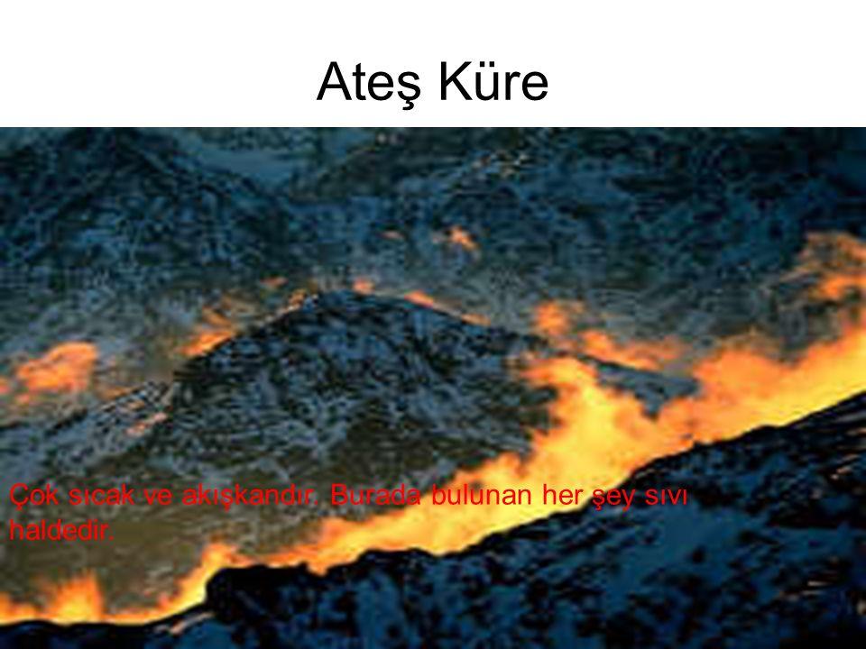13 Ateş Küre Çok sıcak ve akışkandır. Burada bulunan her şey sıvı haldedir.