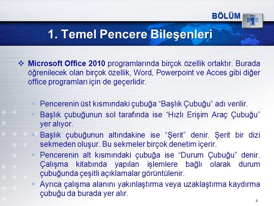 4 1 BÖLÜM  Microsoft Office 2010 programlarında birçok özellik ortaktır. Burada öğrenilecek olan birçok özellik, Word, Powerpoint ve Acces gibi diğer